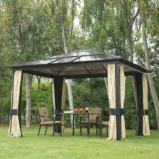 Outdoor Patio With Roof by 12 U0027x10 U0027 Outdoor Patio Canopy Party Gazebo Shelter Hardtop W Mesh