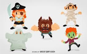 halloween monster costumes cartoon vector download