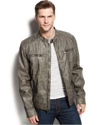 men s moto jacket michael kors michael conway faux leather moto jacket in gray for