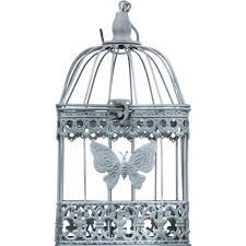 oiseaux en metal de 2 cages à oiseaux déco décor papillon en métal gris à suspendre