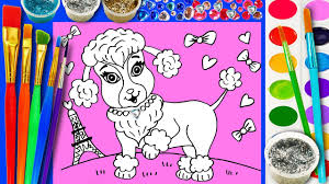 poodle puppy coloring page draw cute animals dog for kids to learn