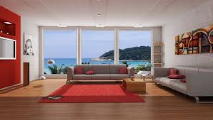 red and gray living room ideas glass window minimalist furnitures