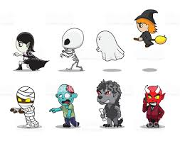 halloween characters clipart halloween character big head side set cartoon vector illustration