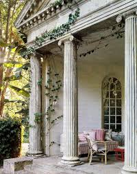 awesome white rustic pillar on terrace with greek themes home