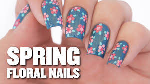 easy spring floral nail art design youtube