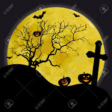 scary halloween background with yellow moon and old tree stock