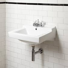 Bathroom Sink Wall Faucets by Square Small Wall Mounted Bathroom Sink With White Faucet Mixers