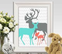 Girls Bedroom Gabriella Coral Turquoise Gray Boy Girls Bedroom Decor Print Deer Family