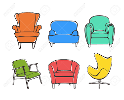 vector graphic set of hand drawn accent chairs accent chair