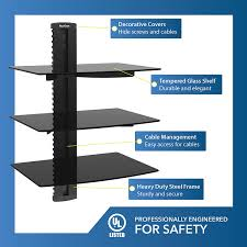 wall mounted component shelves qualgear universal triple shelf wall mount for a v components
