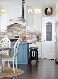kitchen interior blue subway tiles cheap ideas for backsplashes in