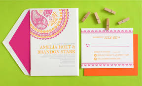 indian pattern letterpress wedding invitations
