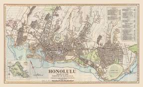 Map Of Waikiki Lahaina Printsellers 1934 Wright Harvey And Wright Honolulu