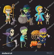 halloween characters clipart costumes traditional halloween characters stock vector 224749798