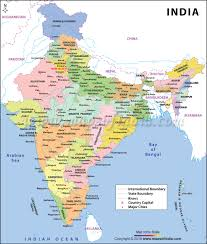 Colored World Map by India Large Color Map