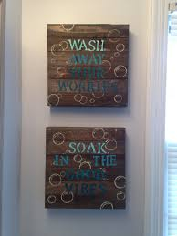 Decorating Bathroom Walls Ideas by Blue Diy Bathroom Wall Decor 10 Wood Canvas From Walmart
