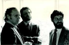 Ewald, Günter (left); Kleinschmidt, Peter (middle); Pachner, Udo (right). Occasion:Ehrenpromotion beim Colloquium zum 90. Geburtstag von Otto Haupt