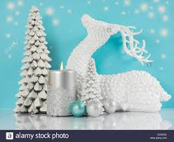Christmas Tree Decorations Blue And Silver Pale Aqua Blue Silver And White Christmas Scene With Reindeer