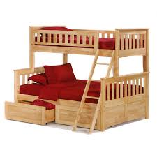Childrens Oak Bedroom Furniture by Cherry Stained Oak Wooden Trundle Bunk Bed Built In Drawers And