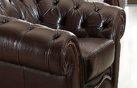 genuine leather formal living room sofa w tufted seats
