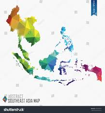 Southeast Map Colorful Abstract Southeast Asia Map Vector Stock Vector 197226659