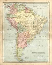 Map Of The South America by Antique Damaged Map Of South America In The 19th Century Stock