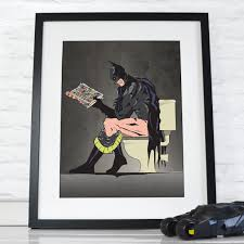 Art On Walls Home Decorating by Batman On The Toilet Poster Wall Art Hanging Print Home Décor