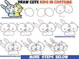 draw cute kawaii chibi kids dressed costumes