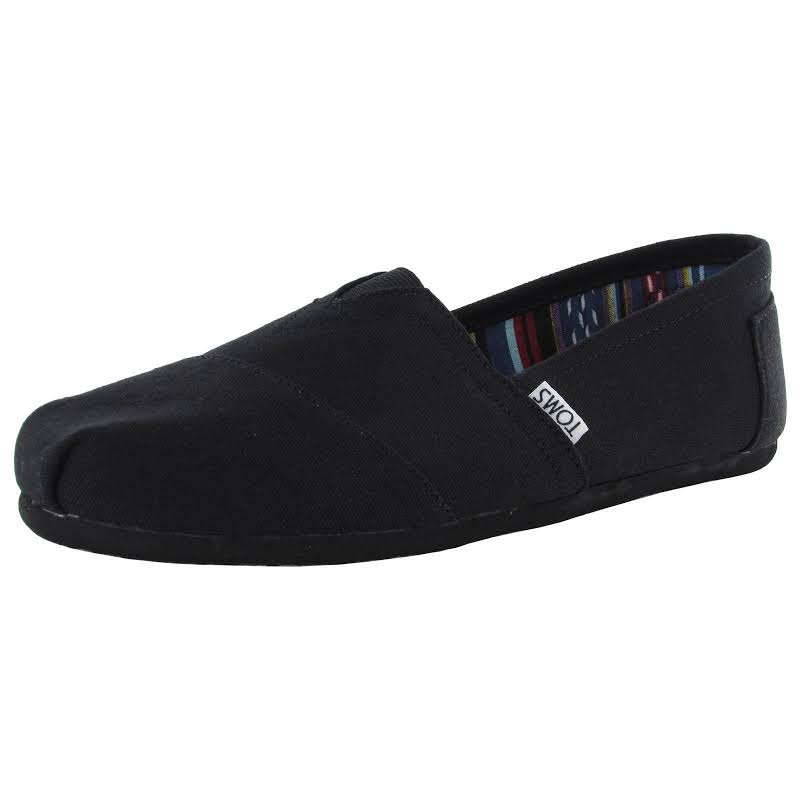Toms Alpargata Canvas Black/Black Ankle-High Flat Shoe 9.5M