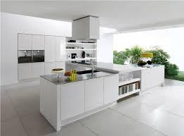 plush white kitchen peninsula with metallic top and modern kitchen