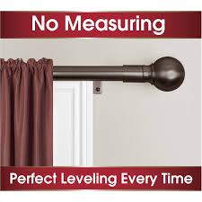 smart rods easy install curtain curtain rod ball finial walmart com