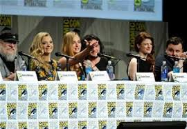 George R R  Martin  Natalie Dormer  Sophie Turner  Kit Harington  Rose Leslie  and John Bradley attend the  quot Game of Thrones quot  panel at Comic Con