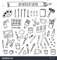 Desing by Art Tools Sketch Hand Drawn Set Stock Vector 342255005 Shutterstock