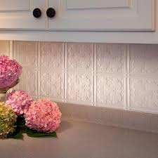 Fasade  In X  In Traditional  PVC Decorative Backsplash - White tin backsplash