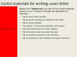 Transport manager cover letter SlideShare