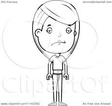 cartoon clipart of a black and white sad adolescent teenage