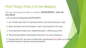 Pronouns And Antecedents Worksheet Introduction To Pronouns Ppt Download