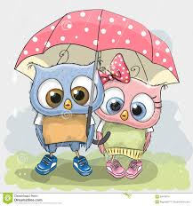 two cute lovers owls stock vector image 69474019