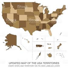 Map Of The Usa by Updated Map Of The Usa Territories Stock Vector Art 651205516 Istock