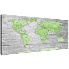 World Map Canvas by Large Lime Green Grey World Map Atlas Canvas Wall Art Print