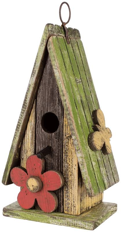 Carson Home Accents 63970 11 Inch Indoor And Outdoor Birdhouse, Green Roof
