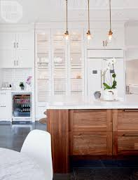 Glass Shelves Kitchen Cabinets A Trendy Meets Traditional Family Home White Display Cabinet