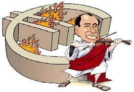 Berlusconi e l'euro che brucia