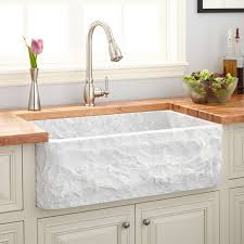 Polished Marble Farmhouse Sink Chiseled Apron Carrara - Marble kitchen sinks