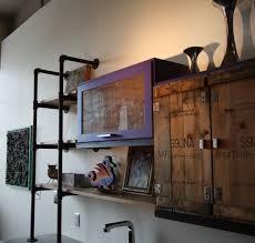 kitchen style matte black iron hanging open shelves industrial