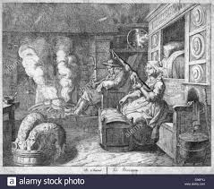 peasant cottage interior 17th century husband wearing wooden