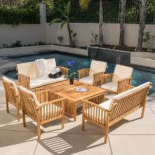 Wood Patio Furniture Sets - amazon com beckley 8 pc outdoor wood sofa seating set patio