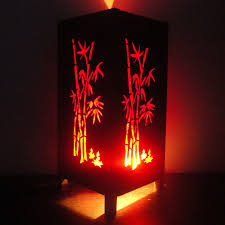 Asian Style Table Lamps Asian Oriental Red Japanese Bamboo Trees Art Bedside Table Lamp