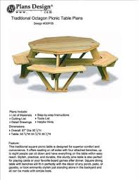 Plans To Build A Picnic Table Bench by Traditional Octagon Picnic Table Plans Pattern How To Build A