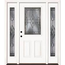 white doors with glass panels feather river doors 63 5 in x 81 625 in sapphire patina 1 2 lite
